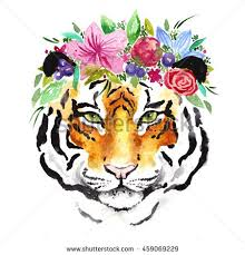 watercolor tiger flowers on beautiful stock illustration