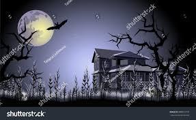 Halloween Haunted Houses Nyc by Halloween Haunted House Trees Skulls Bat Stock Vector 688921195