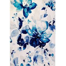 Floral Waterfall Window 1 Piece Home Dynamix Bazaar Watercolor Floral Blue 5 Ft 2 In X 7 Ft 2