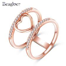 aliexpress buy beagloer new arrival ring gold beagloer two tone connected gold silver color heart