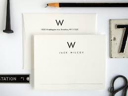 custom letterpress stationery set mid century modern folded