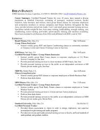 Fitness Resume Group Fitness Instructor Resume Athletic Resume Template Personal