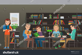 people reading textbooks library men women stock vector 672364249