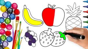 how to draw banana apple strawberry pineapple grapes coloring