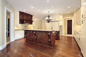 kitchen paneling ideas kitchen in luxury home with wood paneling and marble island stock