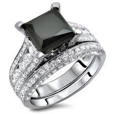 black band engagement rings 4 0ct black princess cut diamond engagement ring wedding band set