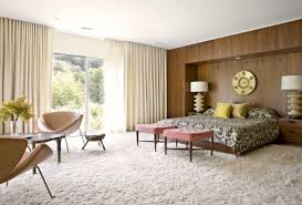White Modern Rug by Mid Century Modern Eclectic Bedroom Dark Brown Hickory Wood Table