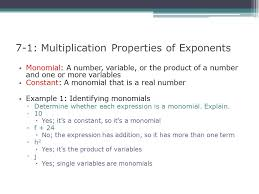 7 1 multiplication properties of exponents ppt video online