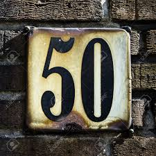 House Plate House Number Fifty On A Rusted Enemelled Plate Stock Photo