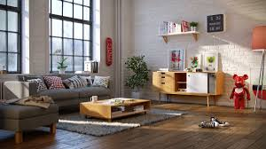living room scandinavian living room features low wood coffee
