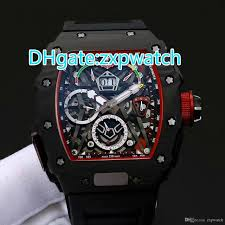 Discount Military Watch Mens Watches For Men Multifunction Sports Waterproof Led 2 Carbon Fibre Black Case Fashion Luxury 50 Watch Automatic 03 Black