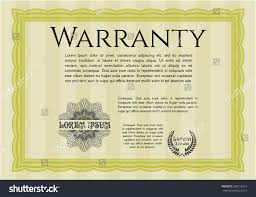 yellow retro warranty certificate template great stock vector