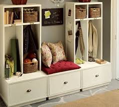 white wooden entryway furniture design for small spaces with red
