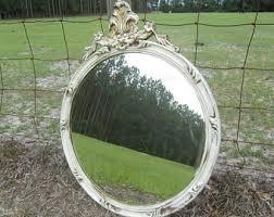 vintage white mirror etsy