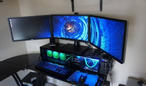 Corner Gaming Computer Desk Modern Black Corner Gaming Computer Desk Plus Beige Wall Colour