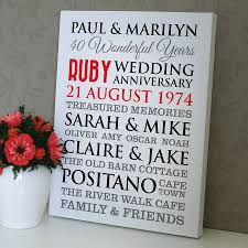 wedding anniversary plaques personalised ruby wedding anniversary ruby wedding