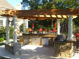 exterior backyard with an outdoor kitchen design natural wooden