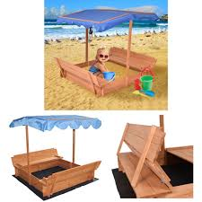 wooden sandbox with two bench seats cover and optional canopy
