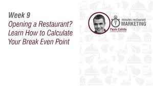 starting a restaurant restaurant break even point youtube