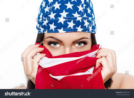 Huge Red Flag Woman Huge Eyes Usa Flag Stock Photo 284830376 Shutterstock
