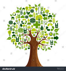 environmental conservation icons set tree shape stock vector