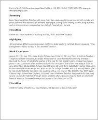 professional long term substitute teacher templates to showcase