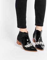 womens boots asos asos rock city pointed embellished ankle boots shoes 3
