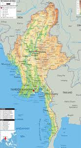 South Asia Physical Map Physical Map Of Myanmar Ezilon Maps