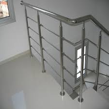 Grills Stairs Design Side Mounted Stainless Steel Rod Railing Design For Wood