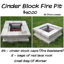 Easy Backyard Fire Pit Designs by Cinder Block Fire Pit For Just 40 28 Cinder Block Caps Fire