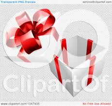 clipart of a 3d open gift box with a red bow royalty free vector