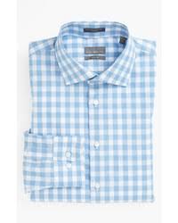 men u0027s beige trenchcoat light blue gingham long sleeve shirt