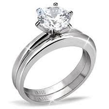plain band engagement ring stainless steel solitaire cubic zirconia plain band