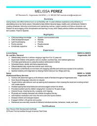 sample resume of nanny position wondrous inspration caregiver