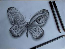 awesome pencil butterfly with and eye pattern on wings