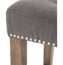 Backless Counter Stool Leather Milton Modern Classic Grey Tufted Nailhead Counter Stool Kathy