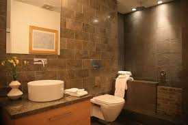 Bathroom With Stone Small Bathroom With Mounted White Sink And Tankless Toilet