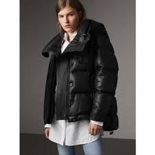 detachable hood lambskin puffer jacket in black women burberry