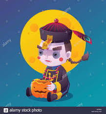 halloween moon background vector illustration of jiangshi chinese hopping vampire ghost with