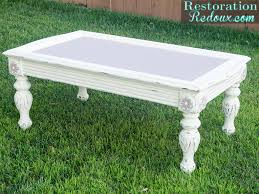 White Painted Coffee Table by Chalky Finish Coffee Table Restoration Redoux