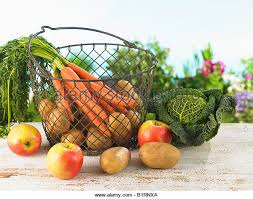 fruit and vegetable basket fruits and vegetables basket stock photos fruits and vegetables