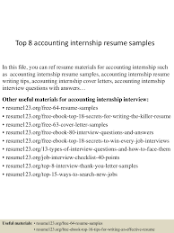Internship Resume Examples Accounting Internship Resume Resume For Your Job Application