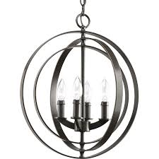 Progress Lighting 5 Light Chandelier Shop Progress Lighting Equinox 16 In 4 Light Antique Bronze Globe