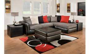 Sectional Living Room Set Furniture In Black - Farmers furniture living room sets