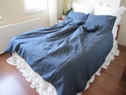navy denim blue linen custom twin xl queen king duvet cover