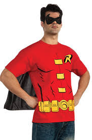 spirit halloween batman shirt amazon com dc comics men u0027s robin t shirt with cape and mask clothing