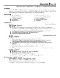 resume massage therapist resume examples