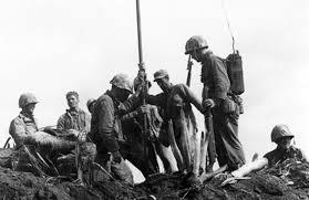 Iwo Jima Flag Raising Staged Flag Raisers