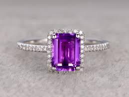 amethyst diamond engagement ring natural 6x8mm emerald cut amethyst engagement ring diamond wedding