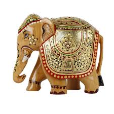 handicraft wood carving gold painted elephant 4
